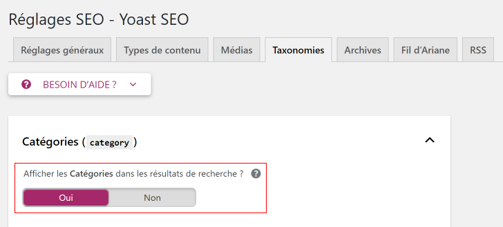 Yoast SEO pour WordPress Cateogy